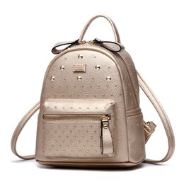 $enCountryForm.capitalKeyWord Australia - YONGBONG Pretty Rivet Backpack Girl School Student Backpacks Pu Leather Mochila Escolar Bag Fashion Black Gold Silver Rucksack