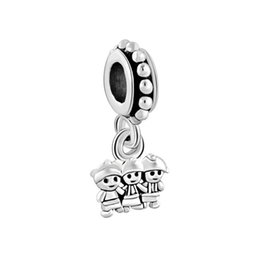 Chinese  Valentines Day jewelry metal sister brother family drop European style dangle bead infant lucky charms Fits Pandora charm bracelet manufacturers