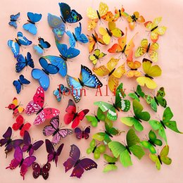 3d glasses sold online shopping - Hot selling sets Colours available plastic Magnet Butterflies DIY Wall Sticker Home Decoration