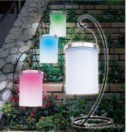 4xsolar power hanging cylinder lanterns led landscape path yard garden patio holiday light lamps outdoor waterproof solar lights