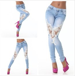 Wholesale New Arrivel European and American Women skinny jeans Lace Hollow Out Womens Denim Pants Sale Fashion Skinny Jeans for Women