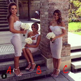 Order wedding dresses online shopping - 2018 Mix Order Lace Sheath Short Bridesmaid Dresses Satin Applique Knee Length Party Prom Wedding Guest Dresses Evening Gowns