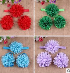 $enCountryForm.capitalKeyWord Australia - Chiffon flower hair band head flower child child headdress wrist flower foot 10pcs