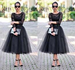 Tea Party Dresses White Canada - Black Lace Party Dresses 2016 Cheap Sexy Crew 3 4 Long Sleeve Pleats Tulle Skirts Tea Length Formal Occasion Wear Prom Gowns