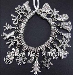 beads for christmas NZ - 200pcs Mix Vintage Silver Christmas Day Lucky Charms Pendants Beads For European Bracelet Jewelry Making Accessories Valentine's Gift C823