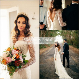 Sheath Column Wedding Dress Buttons Canada - 2016 New Sheer Long Sleeves sheath Lace Top Wedding Dresses V Neck Tulle Applique Court Train With Buttons Back