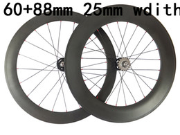 Bicycling Gear Australia - front 60mm and rear 88mm carbon track road wheelset 25mm width 700C cycling bicycles wheels glossy matte finish 700C