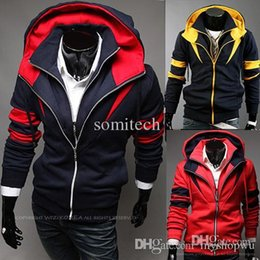 Barato Estilo Assassino Atacado-Atacado-2015 Novo Projeto Assassins Creed Connor Estilo Cosplay Anime Jacket 2 Row Zipper Homens Moda Casual Brasão Hoodie