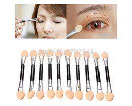 EyE shadow applicators spongE online shopping - Disposable Make Up EyeShadow Applicator Brush Double Headed Sponge Eye Shadow Brush