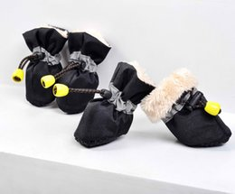 Dog Boots Free Shipping Canada - Free shipping! thickening winter inside fur 4pcs set Pet Dog Shoes footwe rain Boot pet products waterproof rain shoes