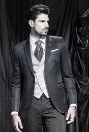 $enCountryForm.capitalKeyWord Canada - High Quality One Button Black Groom Tuxedos Peak Lapel Groomsmen Mens Wedding Dresses Prom Suits (Jacket+Pants+Vest+Tie) G5051