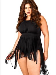 Sexy Swimming Dress For Women Canada - Hot Sexy Plus Size Fashion Fringe Dresses 2015 Retro High Waisted One Piece Tassel Swimsuits For Women Swim wear Bathing Suits