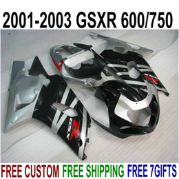 kit gsxr k1 NZ - ABS plastic bodykits for SUZUKI GSX-R600 GSX-R750 01 02 03 fairing kit K1 GSXR 600 750 2001-2003 silver black fairings set SK42