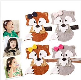 $enCountryForm.capitalKeyWord NZ - Glitter Felt Fox Hairpin Cute Bow Woodland Fall Cartoon Animal Hair Clips Brown Grey Fashion Autumn Trendy Baby Barrette Headband m860