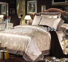 Queen Lace Sheet Set NZ - satin jacquard Luxury bedding sets designer bed in a bag linen lace duvet covers king size bedclothes cotton sheets Christmas 4pcs.