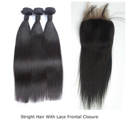 Straight Hair Weave Styles Canada - Brazilian Virgin Hair straight Free Style Lace Frontal closure With Baby Hair with 3 Bundles Natural Color Frontal lace closure G-EASY
