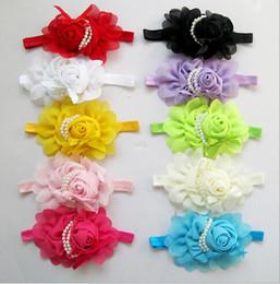 O novo 10-cor 10 pcs faixa de cabelo das Crianças por atacado rosas pérola flor crianças headband do bebê headband cocar em Promoção
