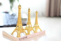 Inlaid Table Canada - Gold 3D Paris Eiffel Tower model home Metal souvenir crafts Photo Prop Crafts wedding centerpieces table decorations supplies free shipping