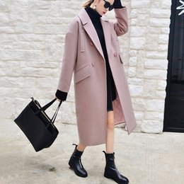 Barato Revestido De Lã Casacos Mulheres-X-long Oversized Coat With Pad Forro Warm Thick Casual Overcoat New Women's Camel Wool-like Coats Outono Inverno 2016