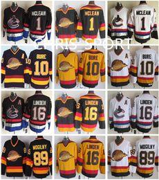 37c4a70f489 ... Black Vintage Road White CCM Vancouver Canucks throwback CCM hockey  jerseys 1 Kirk McLean 10 Pavel Bure 16 Trevor Linden 19 ...