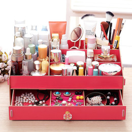 wood desk storage box 2019 - Desk Wooden Storage Box 36.5x23.2x13.2CM Jewelry Container Makeup Organizer Case Handmade DIY Assembly Cosmetic Organize