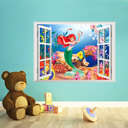 The Little Mermaid Lovely Princess Ariel 3D Window Wall Sticker Kids Room  Decals Free Shipping In Stock