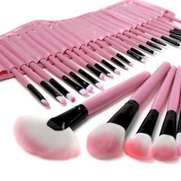 Vente en gros 32 PCS Rose Laine Maquillage Pinceaux Outils Ensemble avec Étui En Cuir PU Cosmétique Facial Maquillage Brosse Kit Livraison Gratuite