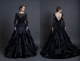 stunning black wedding dress long sleeves backless sareh nouri winter 2016 vintage lace bridal mona lisa ball gown wedding dresses tiers