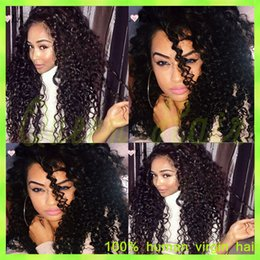 Virgin Indian U Part Wig Canada - Kinky Curly Virgin Hair Full Lace Human Hair Wigs Curly Lace Front Brazilian Hair Wigs U Part Human Hair Wigs Kinky Curly Wigs