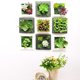 3d Sticker Flowers Canada - creative 3D flower art wall stickers ofing stereoscopic sitting room home rural simulation plants hanging ornament Succulents Decoration