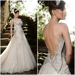 Chinese  High Quality Ellie Saab Wedding Dress 2015 Formal Floor Length Backless Sexy Cheap Online Beach Applique A-Line Sleeveless Wedding Dresses manufacturers