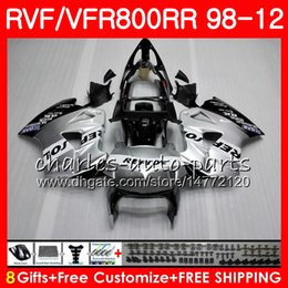honda vfr interceptor fairings NZ - VFR800 For HONDA Interceptor VFR800RR 98 99 00 01 02 03 04 12 Repsol silver 90HM5 VFR 800 RR 1998 1999 2000 2001 2002 2003 2004 2012 Fairing