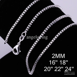 "indian boxes 2019 - Popular Jewelry 925 Sterling Silver Necklace 2mm Box Chain Necklace 16"" 18"" 20"" 22"" 24"" 100pcs"