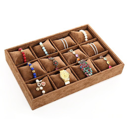 watch trays NZ - Coffee velvet jewelry display trays wholesale 12 Booths Pillow Bracelet Bangle Watch Organizer Stand Holder Tray
