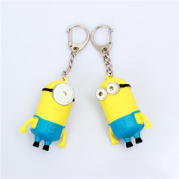 Yeux Méprisables Pas Cher-Cartoon Key Chain Despicable Me 3D Eye Small Minions Figure Kid Toy Keychain Chaveiro Chain LED Night Light Lampe torche LED LED Jouets sonores