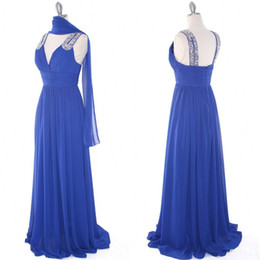 Robe De Demoiselle D'honneur En Mousseline De Soie Pas Cher-Image réelle de haute qualité Mather Bride Mère de la mariée Robes Royal Blue Wedding Party Robe de demoiselle d'honneur V Neck Vêtements en mousseline de soie