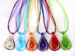 italian silver chains wholesale UK - wholesale 6pcs handmade mix color Italian venetian Transparent Drop Lampwork murano glass pendant 3+1 silk necklaces nl0184m*6