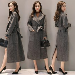 Barato Atmosfera Casacos Mulheres-2017 Outono Moda Mulheres Wool Blends Coat Solid Slim Dynamic Elegant Atmosphere Coats Outerwear Dark Grey 7623