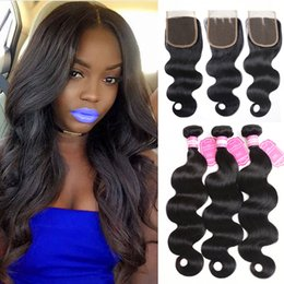 $enCountryForm.capitalKeyWord NZ - Brazilian Body Wave Human Hair Weaves Extensions 3 Bundles with Closure Free Middle 3 Part Double Weft 100g pc