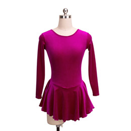 simple girls dresses UK - Fuchsia Female Skating Dress On Ice Long Sleeves Simple Design Dress Competition Girls Dress Wholesale Price