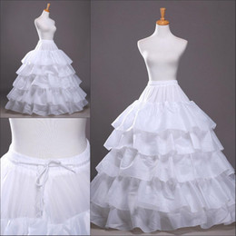 hoop wedding dresses 2019 - In stock Four Hoops Five Layers Petticoats Slip Bridal Crinoline For Ball Gowns Quinceanera Wedding Prom Dresses Free Sh