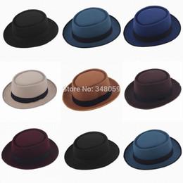 Wholesale-Unisex Vintage Felt Pork Pie Porkpie fedora Hat Cap Oval Short  Brim Ribbon Band sun hat 285c7020497e