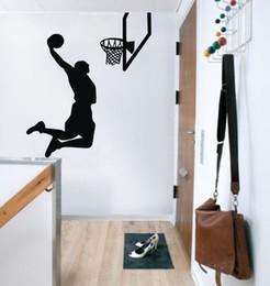 Basketball Player Cartoon NZ - ColorfulHall Sports Air Basketball man player Wall stickers art Decoration USA spirit wall decals