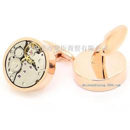 $enCountryForm.capitalKeyWord Canada - Dongguan high-end custom cufflinks popular clothing imports rose round gold cufflinks precision of gear movement CZ