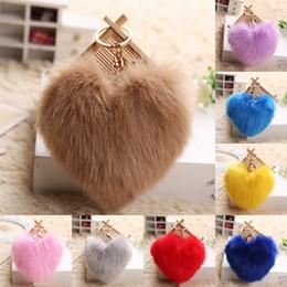 $enCountryForm.capitalKeyWord Canada - Fluffy Fur Keychain Soft Heart Lovely Heart Shape Pompons Rabbit Fur Ball Car Handbag Key Ring Multicolor Fashion Gift D375Q