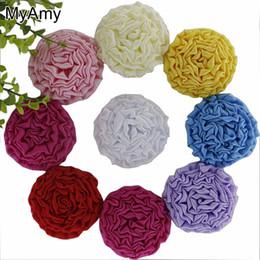 Girls hair rosettes online shopping - Myamy quot Multilayers Satin Rose Puff Flower Girls Headband Flowers Accessories Satin Rosettes Solid Headwear