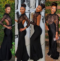 Evening Model Sexy Girls Canada - 2016 Trends Sexy Black Lace Prom Evening Dresses Black Girl African Open Back Sheer Party Dress Long Sleeves dress for graduation vestidos