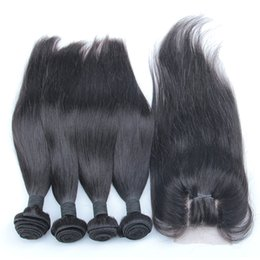 $enCountryForm.capitalKeyWord Australia - Brazilian Virgin Hair With Lace Closure 5pcs Cheap Straight Human Hair Weaves And Closure Double Weft Extensions Natural Color 8-30 inch