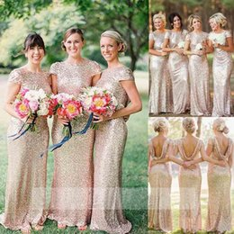 Robe Courte Et Sirène Pas Cher-Bling Champagne Sequined Maid of Honor Robes Mermaid Plus Taille à manches courtes Long Wedding Guest Robe de mariée Robe de soirée à la mariée Robe de mariée 2015