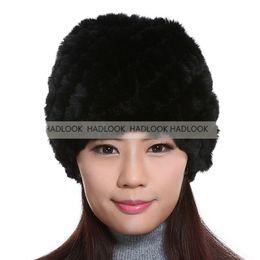 $enCountryForm.capitalKeyWord Canada - Rabbit Fur Hats Girls Women Genuine Knitted Rex Natural Stripe Rex Rabbit Fur Caps lady winter warm Headwear free shipping